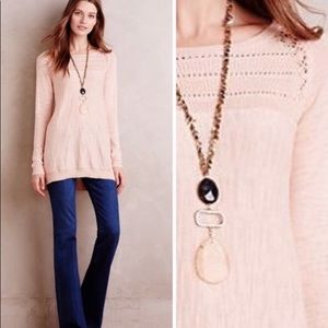 ANTHROPOLOGIE Knitted & Knotted Sweater Peach Sz S